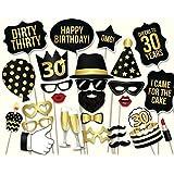 Veewon 30e fête de la fête Photo Booth Props 34pcs kit de bricolage adapté à sa 30e célébration d'anniversaire
