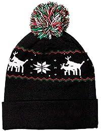 Mallalah LED Light Up Bonnet Noël Adulte Chapeau Beanie Hat Knit Cap  Tricoté Hiver Lumineux Casquette 5257ce96a2a