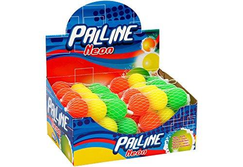Globo Toys 29106 Bälle in Neon-Farben, Sommerlicher Stil, 40mm, 3, 24Stück in Einer Schachtel