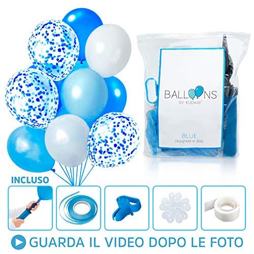 Palloncini blu e bianchi azzurri celesti con coriandoli colorati 60 pz baby shower boy decorazioni battesimo bambino addobbi per feste di compleanno pompa elio arco matrimonio nascita bimbo maschio