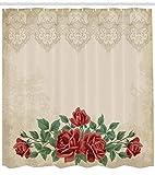 Abakuhaus Duschvorhang, Vintage Muster Hintergrund mit Rosen Liebe und Anziehungskraft Symbolismus Thematisiertes Druck, Blickdicht aus Stoff mit 12 Ringen Waschbar Langhaltig Hochwertig, 175 X 200 cm