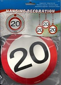 Folat 3er Set Motiv Schild Rotorspiralen 20. Geburtstag Girlanden