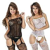 LOVELYBOBO 2-Pack Damen Unterwäschen Reizwäsche Netz Strumpfhose Bodystockings Hohle Blumen Frauen Bodysuit Nachtwäsche Dessous (schwarz+Weiß)