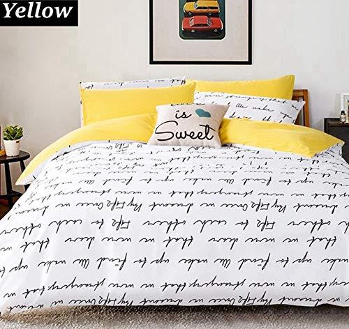 SHJIA Briefdruck Bettbezug-Sets König Bettwäsche-Sets, Bettbezug-Set Schlafzimmer Bettwäsche Bettwäsche Grau Gelb 200x230cm (Gelbe Decke König)