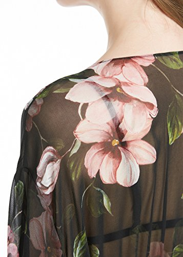 LILYSILK Seide Bikini Cover Up Sommer Strandponcho Strandkleid Sommerkleid Kimono mit bedrukten Mustern 12 Momme Schwarz mit Blumen