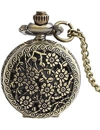 Maybesky Flores talladas de Bronce Retro pequeño Cuarzo Reloj Collar Accesorios para niñas Caja de Regalo para cumpleaños Aniversario día Nav