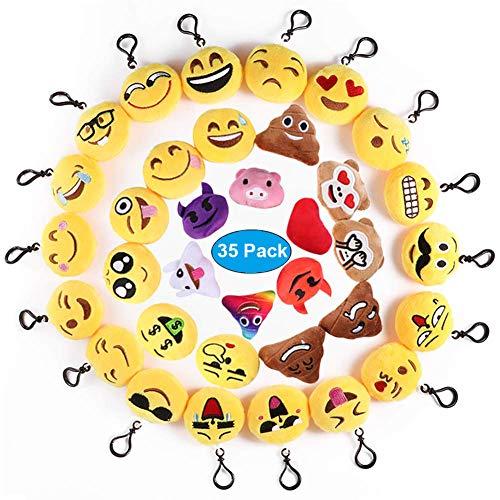Ventdest Mini Emoji Llavero, 35 PCS Emoticon Llavero Emoji Encantadora Almohada para la decoración de Bolsos Mochilas y Llaves Regalitos para niños cumpleaños Colgante de decoración para Coche