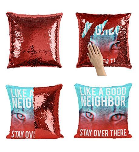 ighbour Quote_005957 Sequin Pillow, Funny Pillow, Sequin Reversible Pillow, Kissenbezug Kissen, Décor, Gift for Him Her, Birthday Christmas Halloween, Present (Kissen + Einsatz) ()