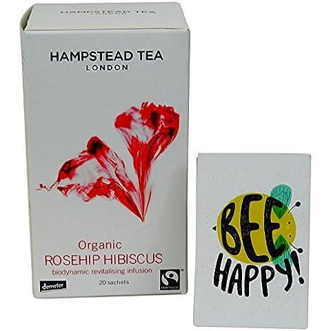Hampstead Tea - Tisana Biologica Biodinamica Demeter con Ibisco e Rosa Canina - 20 Filtri - Biodinamica Tè Verde