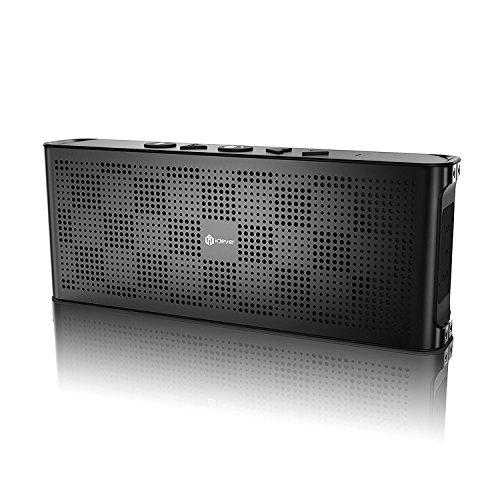 iClever® Altoparlante Bluetooth Portatile Ultra Sottile con Contenitore di Lusso in Alluminio, Costruito con 2 Stereo da 5W Base Potenziata e Chiamata Senza Uso delle Mani, Impermeabile IPX5, 10 ore di Tempo di Riproduzione, Colore Grigio
