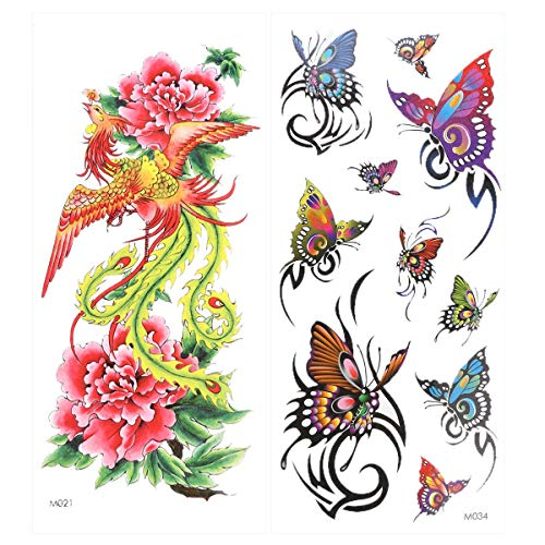 SELIFY Temporary Tattoo Sticker, Rose Phoenix 3D Feather Tattoo, Suitable for Everyday Body Decoration or Gift for Men/Women