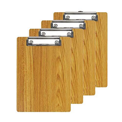 Klemmbretter/Clipboard/Schreibbrett A4- GossipBoy 4er-Set Schwarz Moderne Hohe Qualtiy Dichte Bord Holzmaserung Abgerundete Ecken Zwischenablage(Braun) - Zwischenablage 3x5