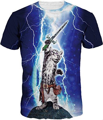 TDOLAH herren bunt galaxy T-Shirt Sport Rundhals Spaß Motiv Tops (L (TAG XL/2XL ), Schwert Katze) (Link Katze Kostüm)