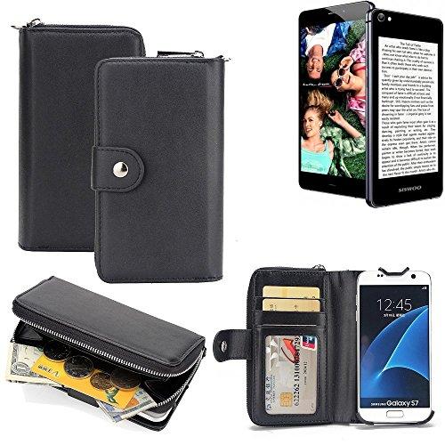 K-S-Trade 2in1 Handyhülle für Siswoo R9 Darkmoon hochwertige Schutzhülle & Portemonnee Tasche Handytasche Etui Geldbörse Wallet Case Hülle schwarz