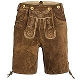 Mufimex Herren Trachten Lederhose Shorts + Hosenträger Hellbraun 48