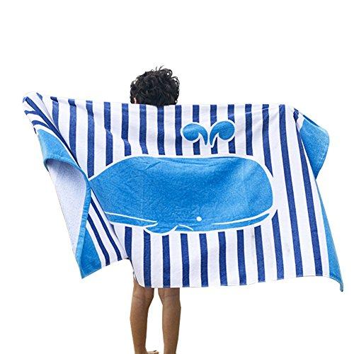 hsene Karikatur Strand Handtuch Baumwolle Bad Handtuch Haus Reise-Decke(Blauer gestreifter Wal) ()