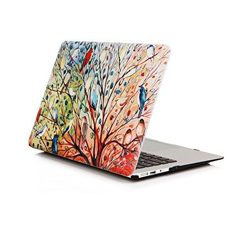 Ein Micron MacBook Pro 13-Zoll-Gehäuse, ultradünnes, mit PU-Leder beschichtetes Cover zum Aufschnappen Leichtes Schutzgehäuse Buntes MacBook Pro 13 '' (A1706 / A1708), Tree Bird (Pro Macbook 2010 13-zoll-fall)