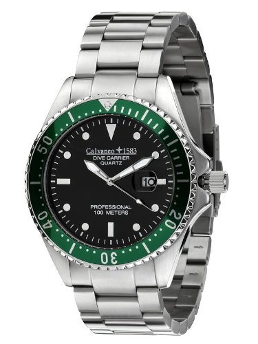 Calvaneo 1583 Dive Carrier 'Cliff Green' 46 mm Diver Montre – 10 ATM