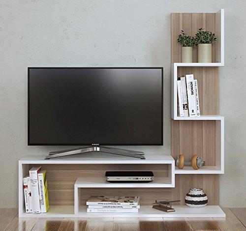 Mimosa set soggiorno - parete attrezzata - mobile tv porta con mensola in moderno design (bianco - avola)