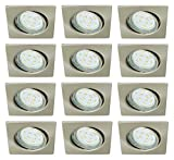 Trango 12er Set eckige Einbaustrahler Edelstahl Look inkl. 12x GU10 LED Leuchtmittel Einbauleuchten Deckenleuchten schwenkbar TG6729-122SB