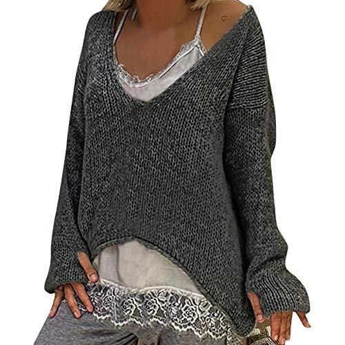 Winter Bequem Lässig Mode Frauen Warm V Ausschnitt Pullover Einfarbig Langarm Pullover Beiläufiger Strickpullover(S,Grau) ()