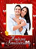 """Personalized HAPPY ANNIVERSARY Picture Photo Greeting Card - Red Heart Theme(6"""" x 8"""") - 2 Pcs"""