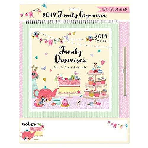 Calendario Appunti 2019.Calendario Familiare 2019 Con Lavagna Per Appunti E Penna Motivo Afternoon Tea Lingua Inglese