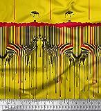 Soimoi Gelb Satin Seide Stoff Regenschirm & Zebra Tierhaut