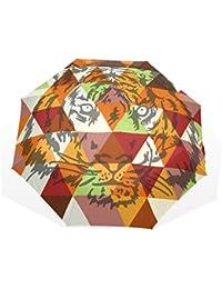 GUKENQ Tiger - Póster de Cara geométrica para Viajes, Paraguas Ligero, Anti Rayos UV