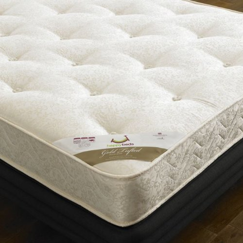 Happy Beds Denver 4' Small Double Size Classic Styled Ivory Finised Wooden Bed With Orthopaedic Mattress