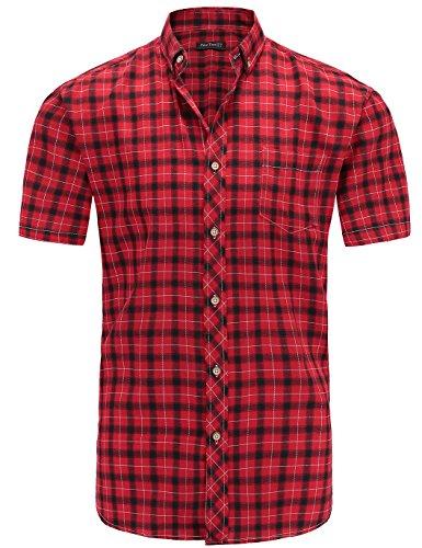 JEETOO Herren Hemden Frühling Slim Fit Karohemd Kariertes Freizeithemd Trachten Figurbetontes Baumwolle Businesshemd Bügelleicht(Medium, Rot)