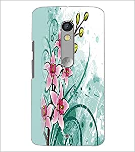PrintDhaba Flowers D-2353 Back Case Cover for MOTOROLA MOTO X PLAY (Multi-Coloured)