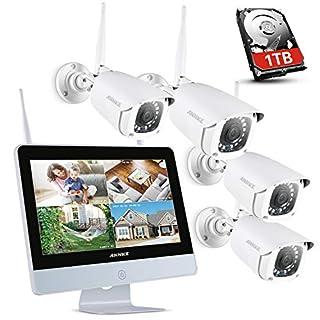 ANNKE Überwachungskamera Set mit Monitor 1080P 4CH 12 Zoll 2.0Megapixel Funk NVR Überwachungssystem mit 4 x 1080P WLAN IP Kamera Vorinstalliert 1TB Festplatte Videoüberwachungssystem für Innen Außen