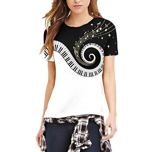 Adelina magliette donna stampa di piano musicale moda giovane estive manica corta rotondo collo slim fit t-shirt per uomo donne unisex coppia san valentino abbigliamento