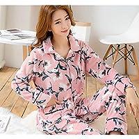 WYIKAI Pijamas Suelta La Camiseta Mujer Pijama Gruesa Franela Establece 2Pedazo Pijama Longsleeved Home,XXL
