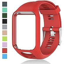 Cyeeson Bracelet de rechange pour montre TomTom Runner 2 en silicone souple, bracelet pour montre intelligente TomTom Runner 2/ Runner 3/ Spark 3/ Spark/ Golfer 2
