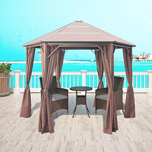 Zora walter – gazebo con gazebo in alluminio marrone esagonale, impermeabile, tenda da giardino con dimensioni: 310 x 270 x 265 cm