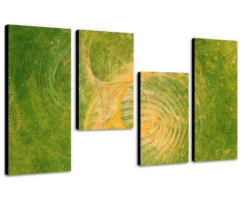 Augenblicke Wandbilder Frühlingszauber 130x70cm 4 teiliges Keilrahmenbild Airbrush looked (30x70+30x50+30x50+30x70cm) abstraktes Wandbild mehrteilig Gemälde-Stil handgemalte Optik Vintage