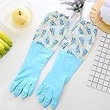 KYFCL Geschirrspülhandschuhe Wäschelfell Waschhandschuhe wiederholbare Gummireinigungshandschuhe Dicke Wasserdichte Handschuhe (5 Paare),Blue
