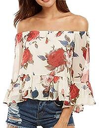 Battercake Mujer Chiffon Camisas Verano Elegante Moda Vintage Ocasional Blusas Casuales Mujeres Floreadas Sin Tirantes Barco