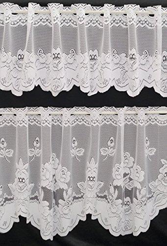 Tendina a tenda fiori bianco 30/50x 150cm–design 311–breve tendaggio punta nel set fa. bowatex