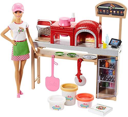 Barbie la pizzeria con bambola, tavolo per le pizze, forno e pasta da modellare, giocattolo per bambini 3 + anni, fhr09