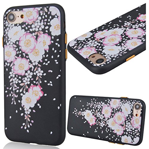 "GrandEver Coque iPhone 7 Plus 5.5"" Silicone Noir Mat Etui Flexible Rubber Gel Soft Doux Ultra Mince Fine Case Anti Rayure Antichoc Slim Léger Housse de protection pour iPhone 7 Plus 5.5"" --- Sakura Ro Begonia"