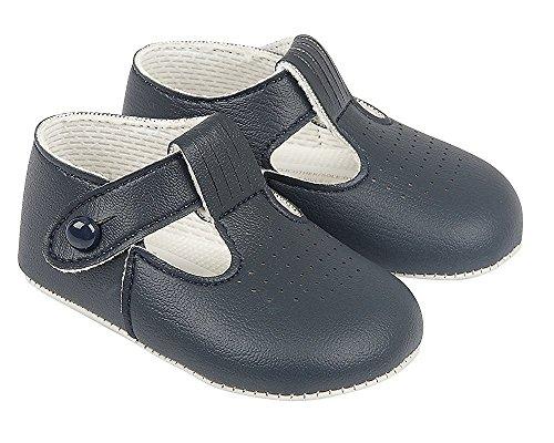 Baypods Luxusbriten machten Baby-hellblaue, weiße, Creme/Elfenbein-und glänzende Schwarz-spezielle Anlass-Hochzeits-Geburtstaufbaypoden-Schuhe durch frühe Tage (EU 20 (12-18 Monate), Marine Blau)