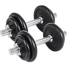 SONGMICS Juego de 2 Mancuernas de Fitness Pesas Hombres Discos de Hierro Fundido 20kg SYL20T