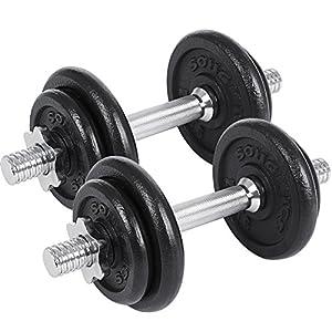 SONGMICS Gusseisen Kurzhantel Hanteln 2er Set 20kg 30 kg 40kg 50kg 60kg