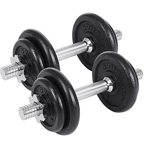 SONGMICS Juego de 2 Mancuernas de Fitness, Pesas para Hombre, Discos de Hierro Fundido, 20kg SYL20T