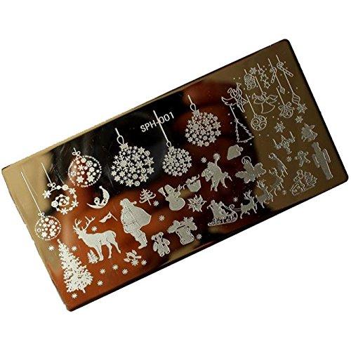 Modern Maniküre Werkzeug Mode Blau Weihnachten DIY Gemalt Manicure Vorlage Nail Kunst Stamping Bild Metal Platte Nagel Art Design Nagelstempelplatten Nagelstempel Nagelschaber