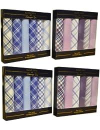 4 lots de luxe de 6 boîtes de mouchoirs pour hommes à carreaux 100% coton