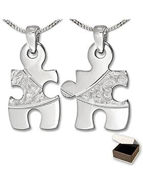 CLEVER SCHMUCK-SET 2 Silberne Freundschaftsanhänger Puzzle 19 mm geteilt mit Struktur, Bögen diamantiert, teils...